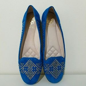 Vince Camuto Blue Suede Rhinestud Flats Loafers